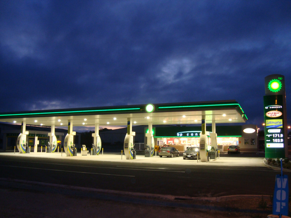 Exterior commercial repaint of BP fuel station in Rolleston